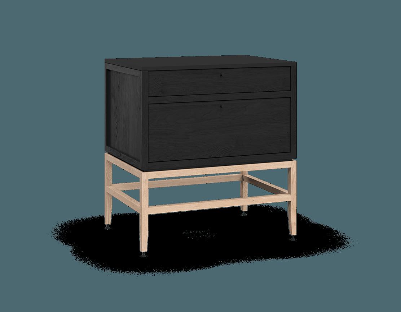 armoire inférieure modulaire de rangement en bois massif coquo volitare avec 2 tiroirs chêne teint noir nuit profonde chêne blanc 33 pouces C2-C-3324-2002-BK-NA