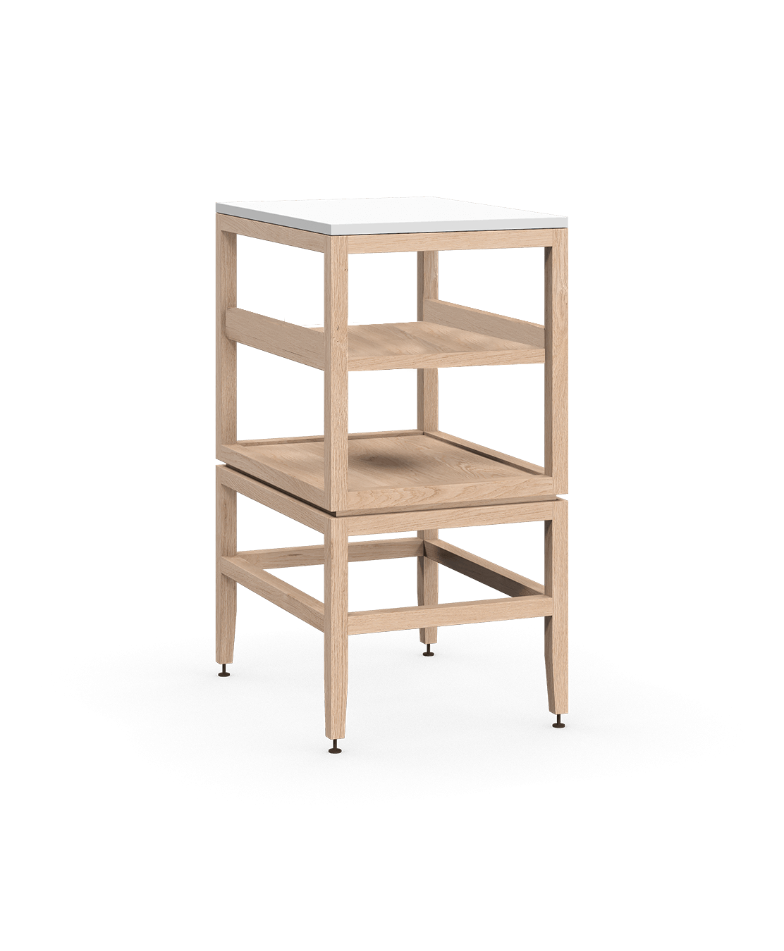 armoire ouverte modulaire de rangement en bois massif coquo volitare avec cube 1 tablette chêne blanc 18 pouces C2-N-1824-001W1-NA