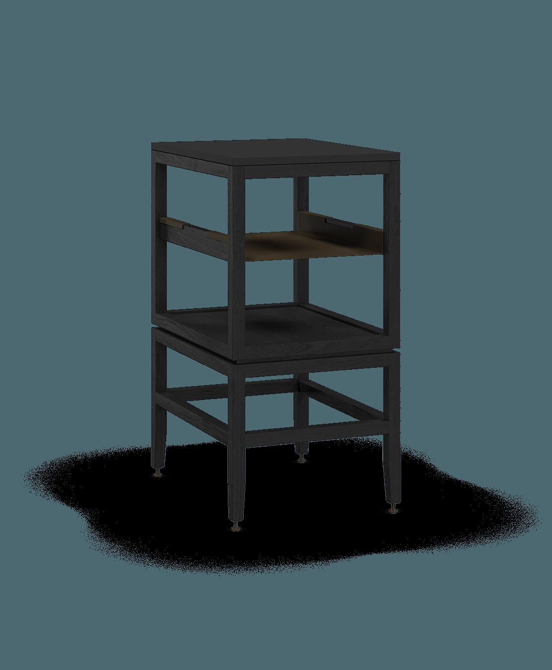 armoire ouverte modulaire de rangement en bois massif coquo volitare avec cube 1 tablette chêne teint noir nuit profonde 18 pouces C2-N-1824-0011-BK