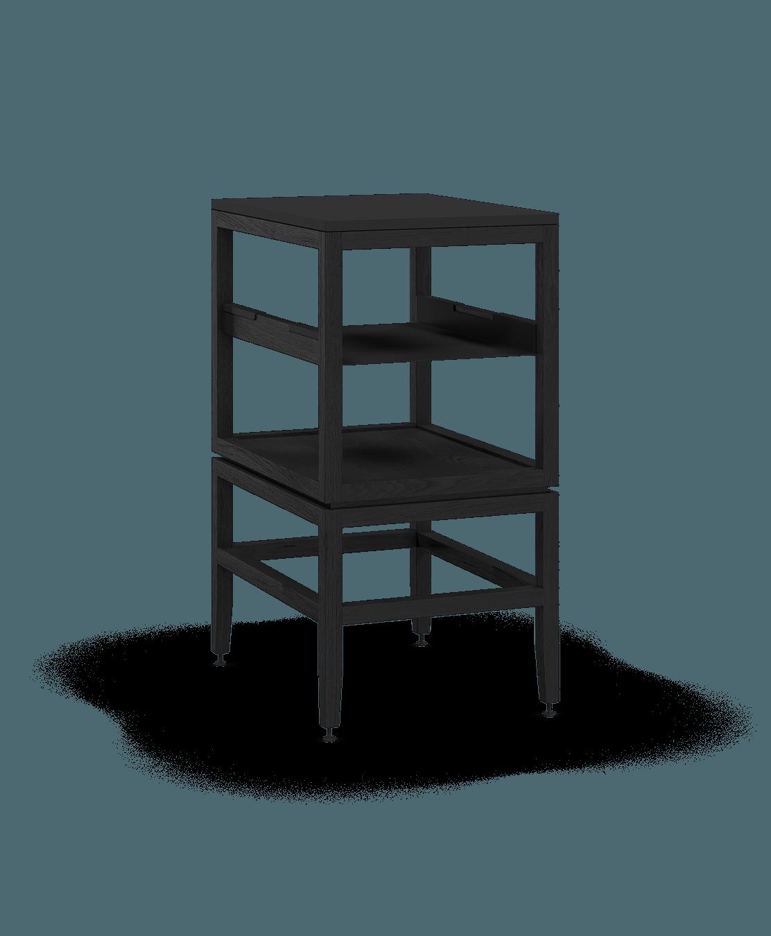 armoire ouverte modulaire de rangement en bois massif coquo volitare avec cube 1 tablette chêne teint noir nuit profonde 18 pouces C2-N-1824-0012-BK