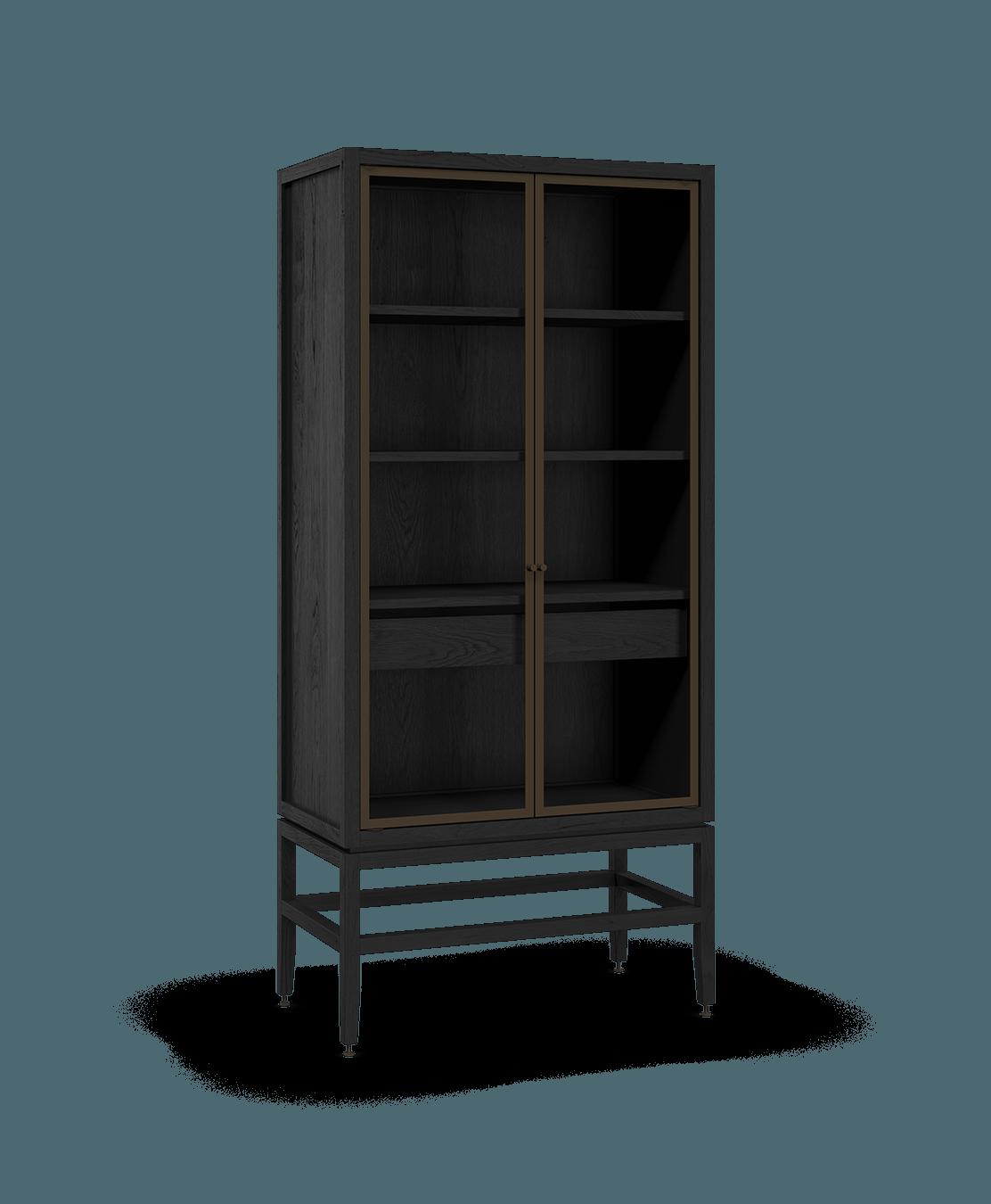 armoire vaisselier vitré modulaire de rangement en bois massif coquo volitare avec 2 portes verre chêne teint noir nuit profonde 33 pouces C2-D-3318-1201-BK