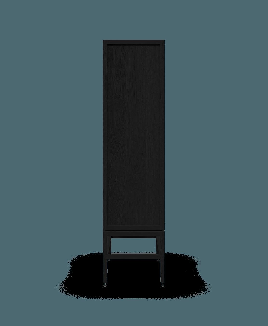 armoire vaisselier vitré modulaire de rangement en bois massif coquo volitare avec 2 portes verre chêne teint noir nuit profonde 33 pouces C2-D-3318-1202-BK
