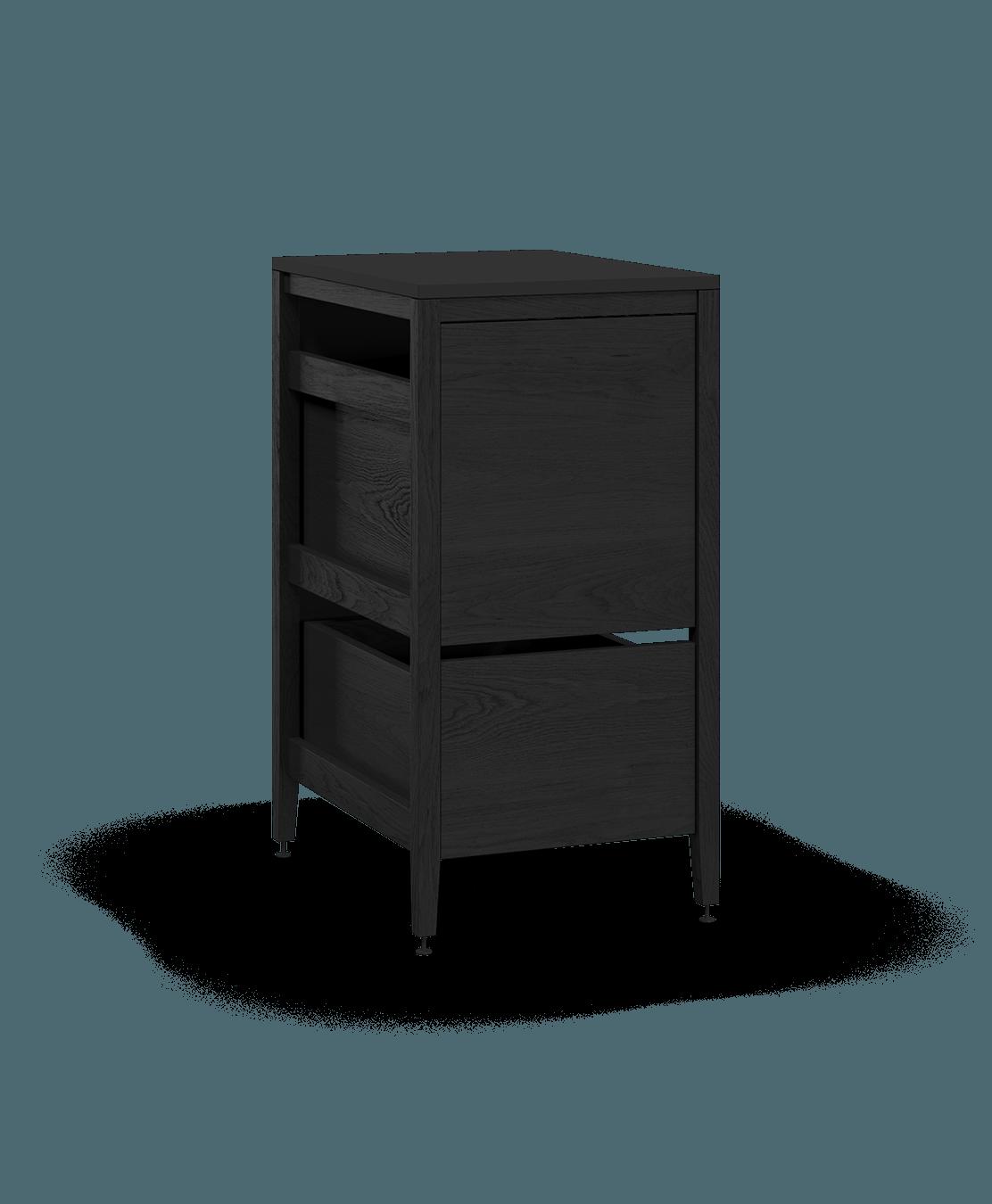 coquo radix midnight black stained oak solid wood modular 1 drawer 2 bins trash base kitchen cabinet 18 inch C1-CTR-18TB-2002-BK