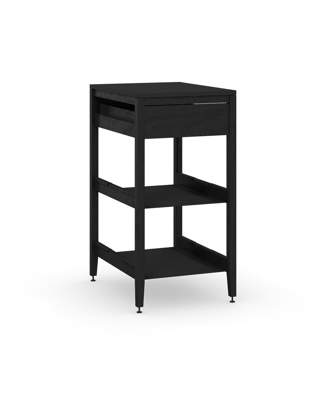 coquo radix midnight black stained oak solid wood modular 2 shelves 1 drawer base kitchen cabinet 18 inch C1-C-18SB-1022-BK