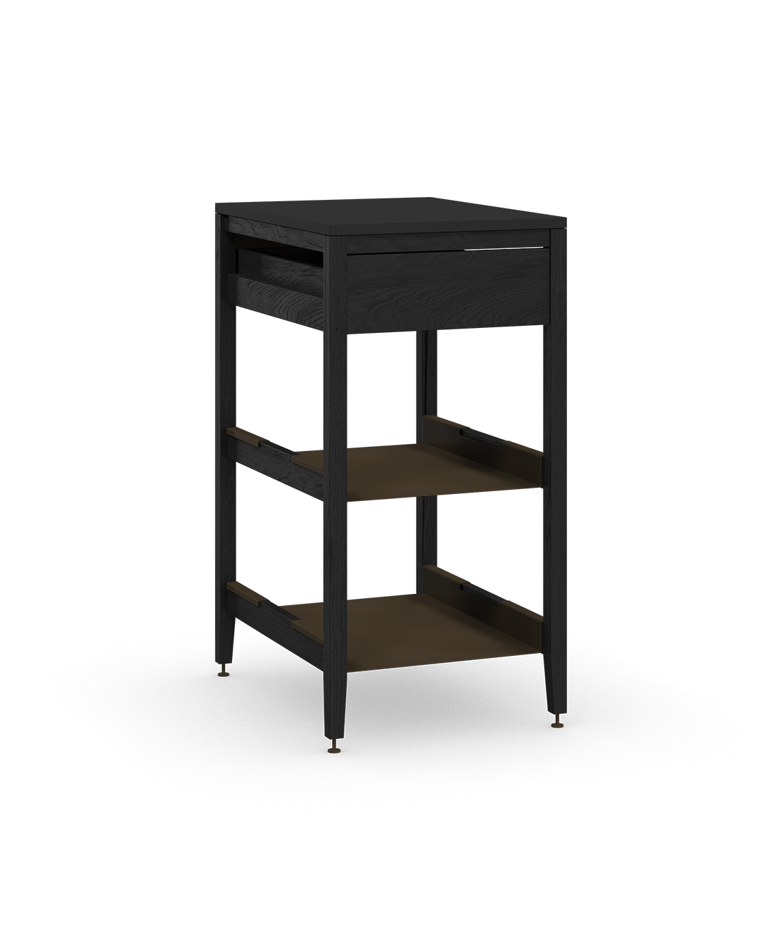 coquo radix midnight black stained oak solid wood modular 2 shelves 1 drawer base kitchen cabinet 21 inch C1-C-21SB-1021-BK
