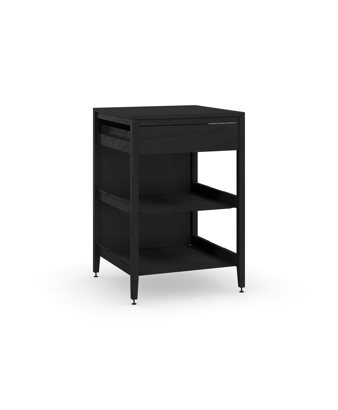 coquo radix midnight black stained oak solid wood modular 2 shelves 1 drawer base kitchen cabinet 27 inch C1-C-27TB-1022-BK