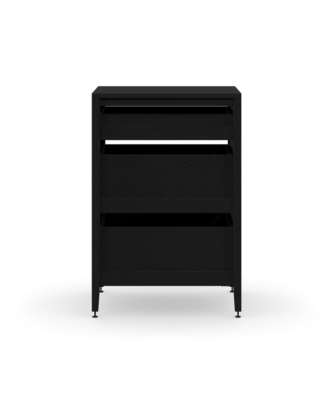 coquo radix midnight black stained oak solid wood modular 3 drawers base kitchen cabinet 15 inch C1-C-15TB-3002-BK