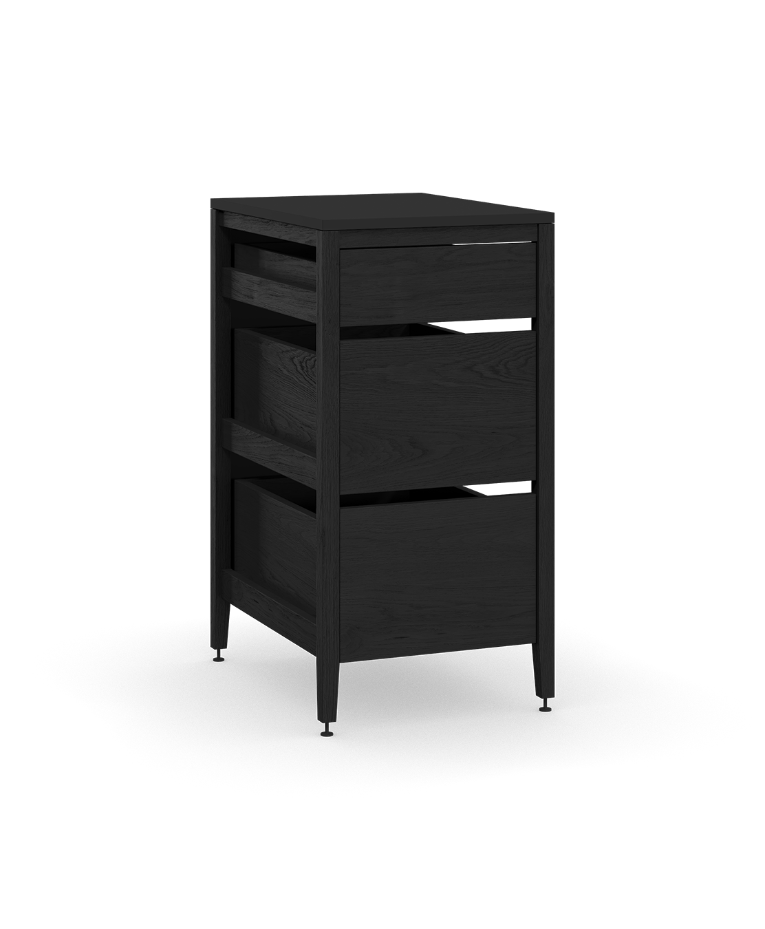 coquo radix midnight black stained oak solid wood modular 3 drawers base kitchen cabinet 21 inch C1-C-21TB-3002-BK