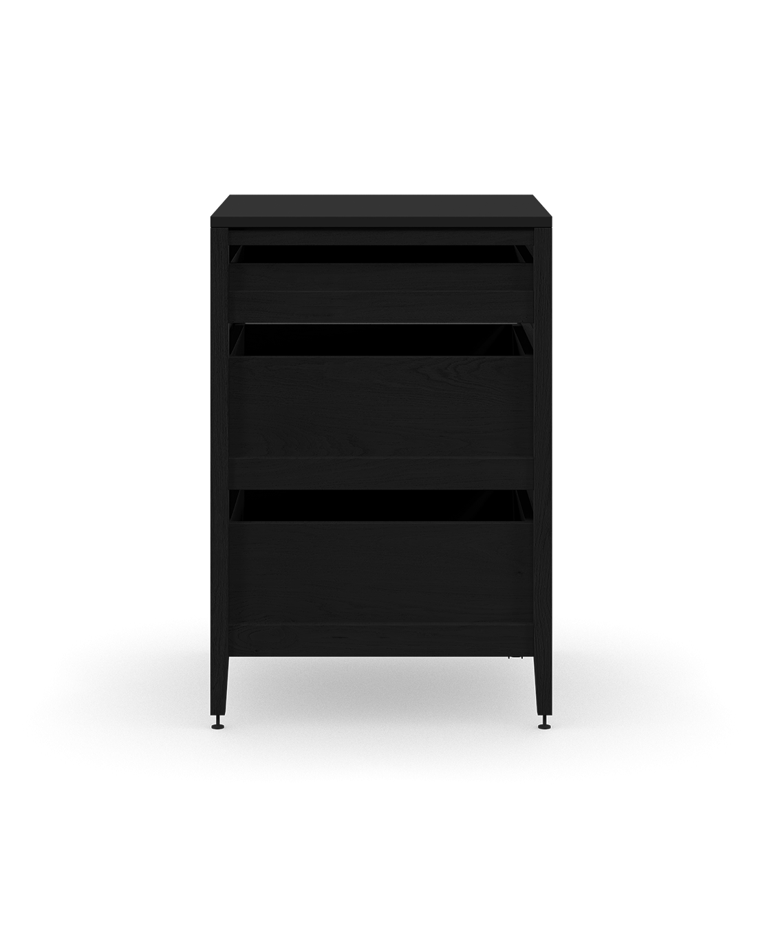 coquo radix midnight black stained oak solid wood modular 3 drawers base kitchen cabinet 24 inch C1-C-24TB-3002-BK