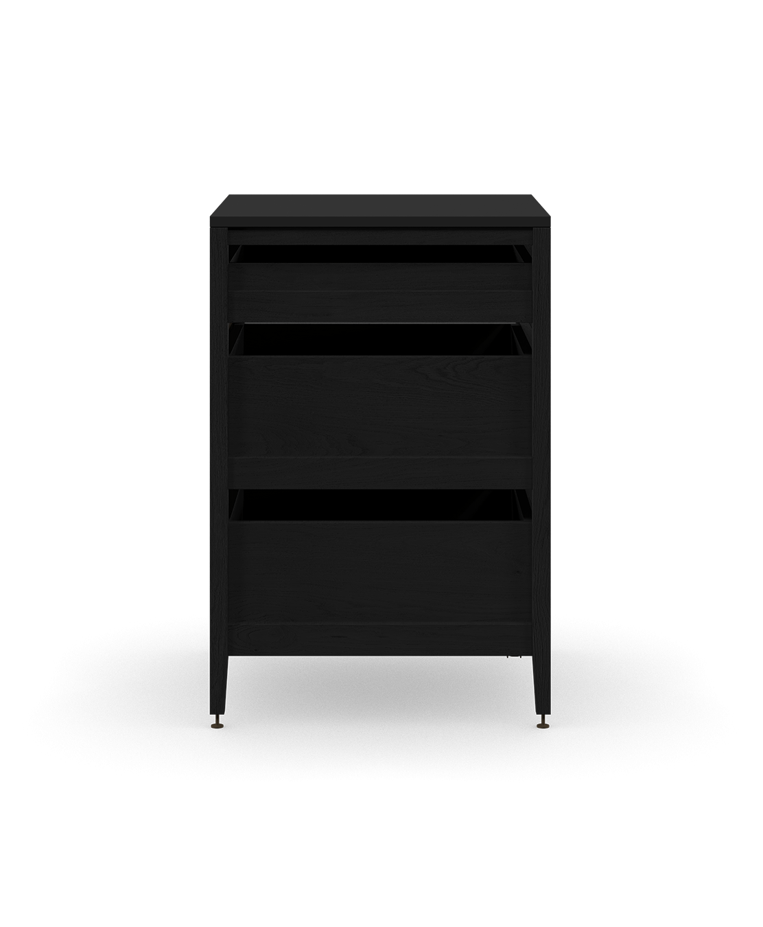 coquo radix midnight black stained oak solid wood modular 3 drawers base kitchen cabinet 27 inch C1-C-27TB-3001-BK
