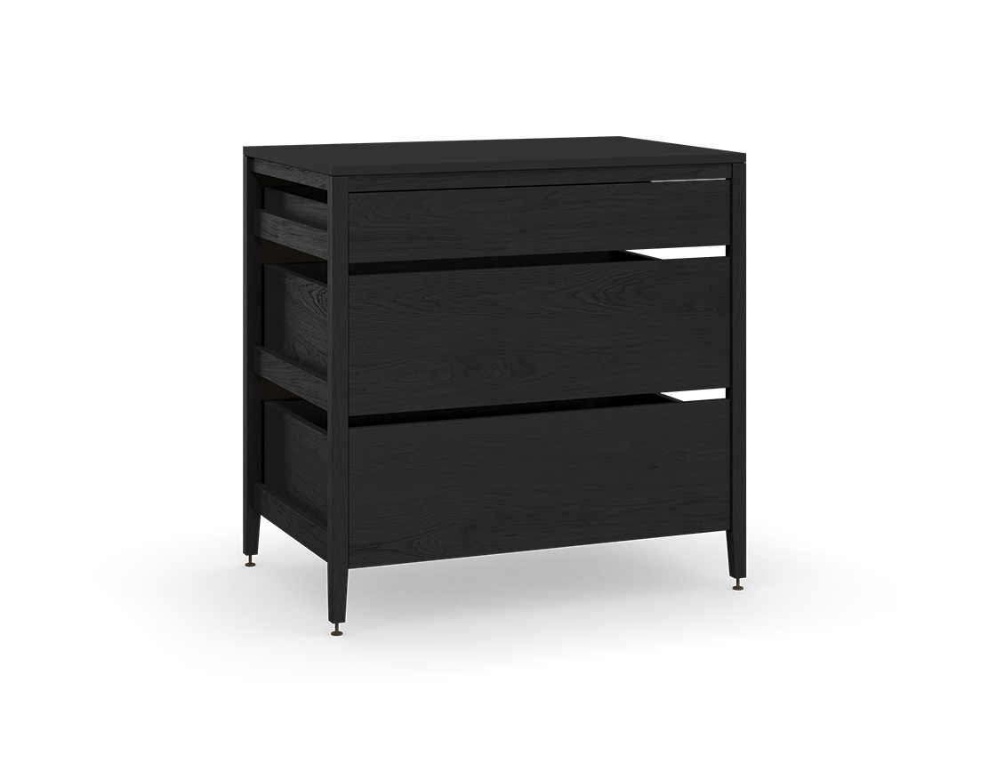 coquo radix midnight black stained oak solid wood modular 3 drawers base kitchen cabinet 36 inch C1-C-36TB-3001-BK