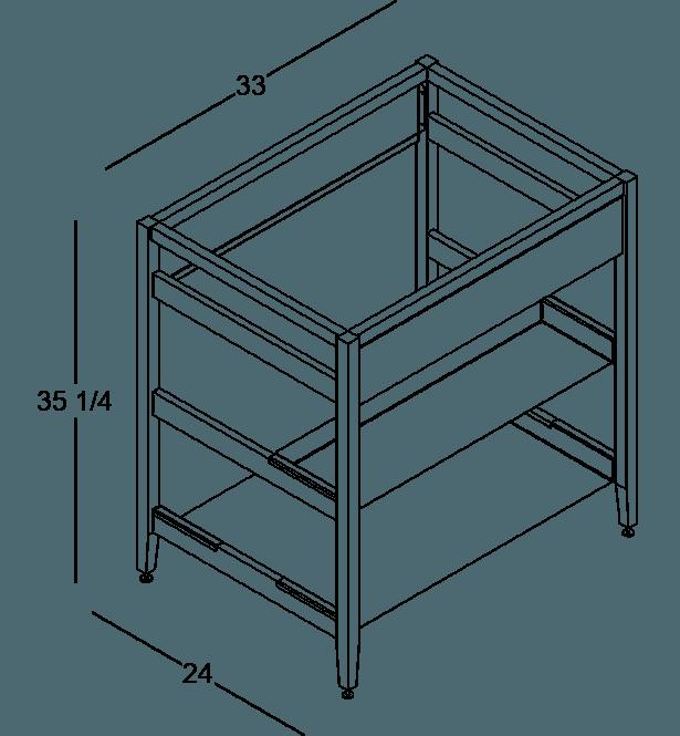 coquo radix midnight black stained oak solid wood modular false front 1 half shelf sink base kitchen cabinet 33 inch C1-CSK-33SB-0031-BK