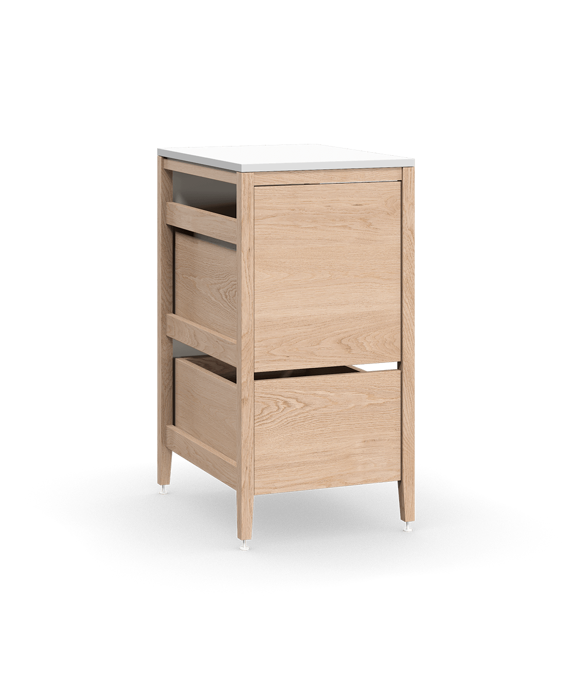 coquo radix white oak solid wood modular 1 drawer 2 bins trash base kitchen cabinet 18 inch C1-CTR-18TB-2003-NA