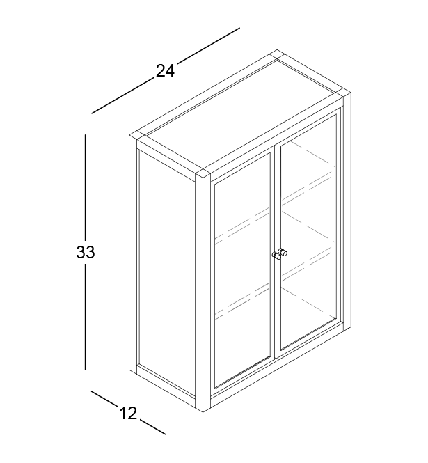 coquo radix white oak solid wood modular 2 glass doors wall upper kitchen cabinet 12 inch C1-W-2412-0202-NA