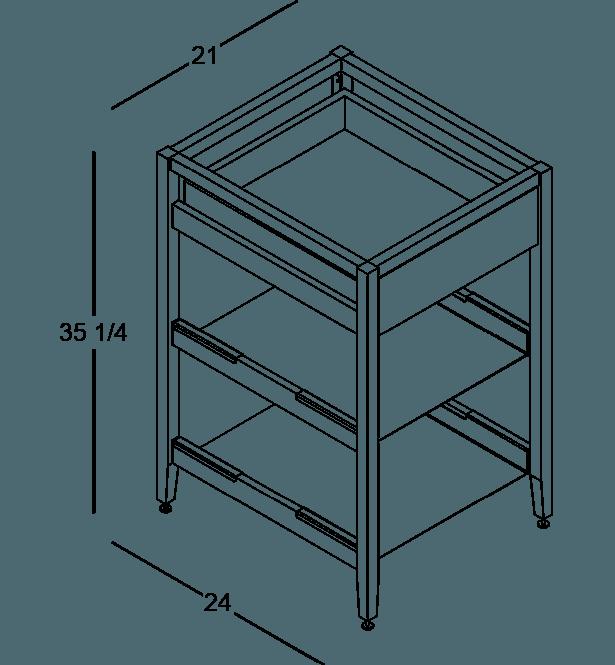 coquo radix white oak solid wood modular 2 shelves 1 drawer base kitchen cabinet 21 inch C1-C-21SB-1021-NA