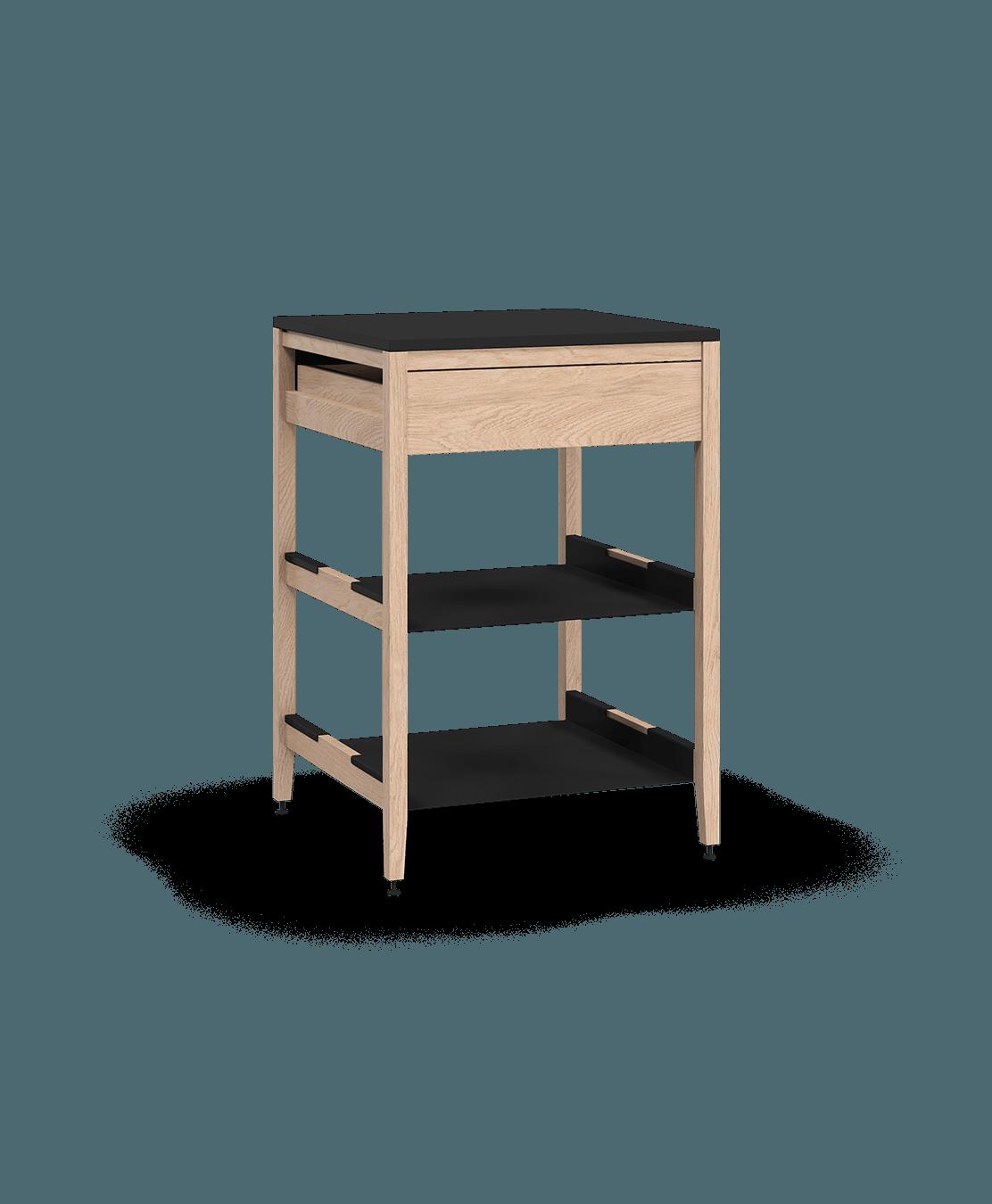 coquo radix white oak solid wood modular 2 shelves 1 drawer base kitchen cabinet 24 inch C1-C-24SB-1022-NA