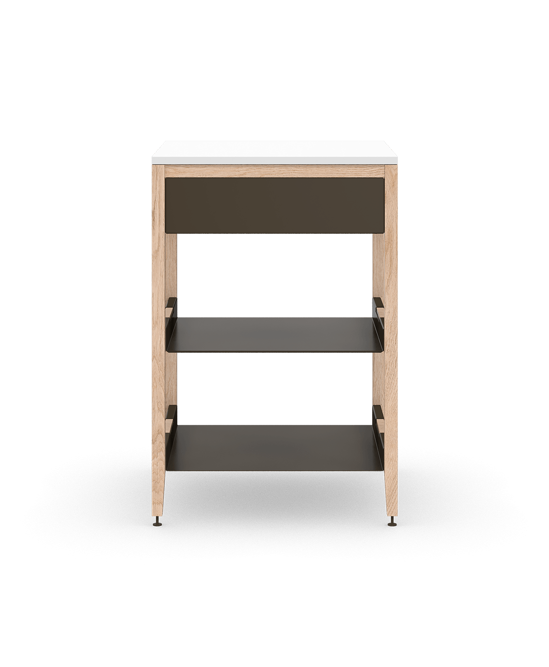 coquo radix white oak solid wood modular 2 shelves 1 drawer base kitchen cabinet 27 inch C1-C-27SB-1021-NA