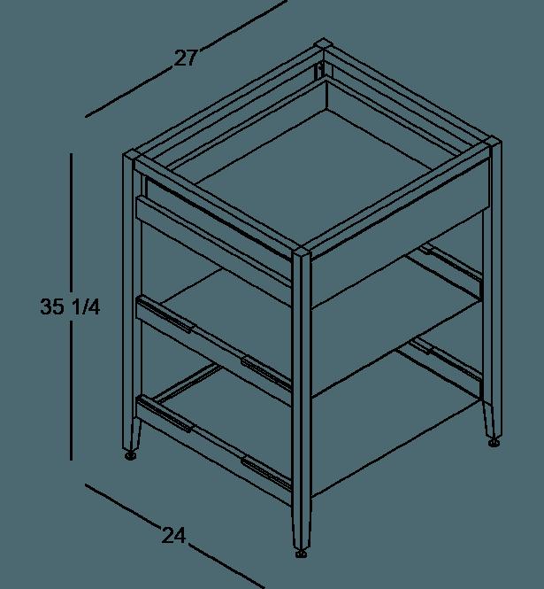 coquo radix white oak solid wood modular 2 shelves 1 drawer base kitchen cabinet 27 inch C1-C-27TB-1021-NA