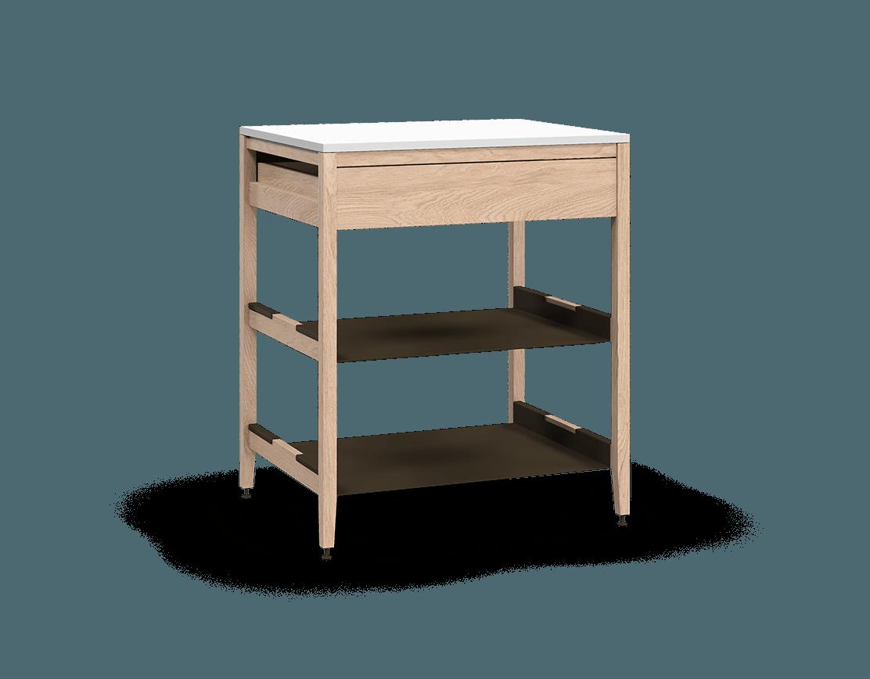 coquo radix white oak solid wood modular 2 shelves 1 drawer base kitchen cabinet 30 inch C1-C-30SB-1021-NA