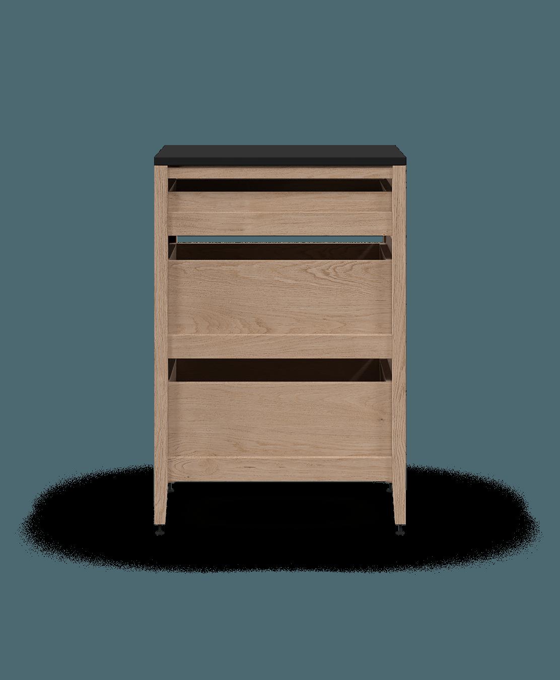 coquo radix white oak solid wood modular 3 drawers base kitchen cabinet 18 inch C1-C-18TB-3002-NA