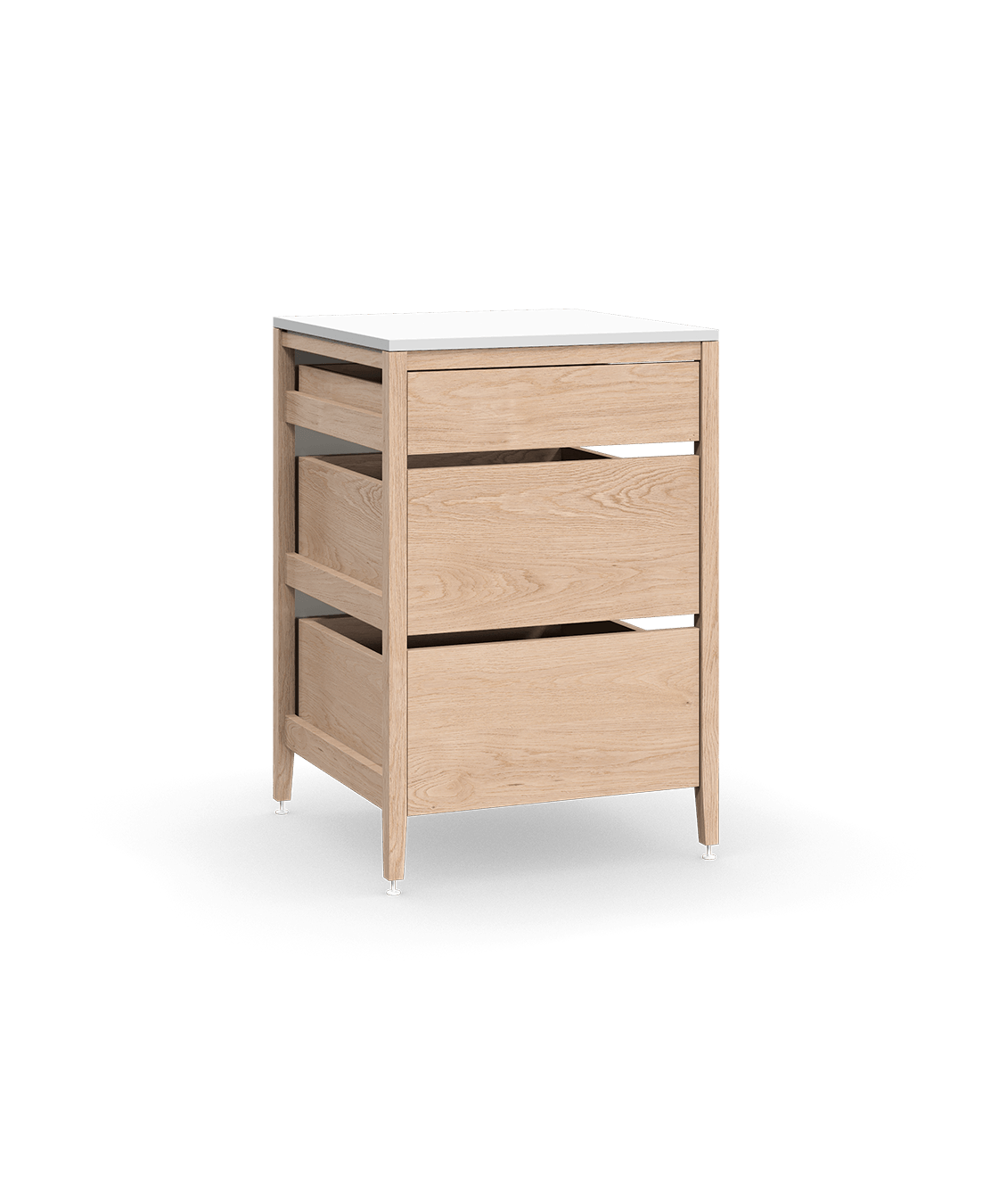 coquo radix white oak solid wood modular 3 drawers base kitchen cabinet 24 inch C1-C-24TB-3003-NA