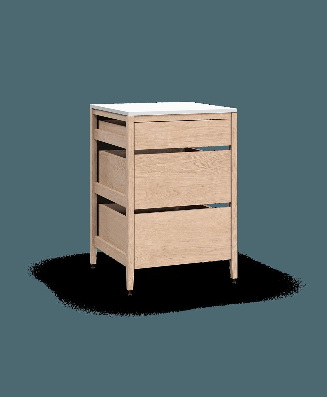coquo radix white oak solid wood modular 3 drawers base kitchen cabinet 27 inch C1-C-27TB-3001-NA