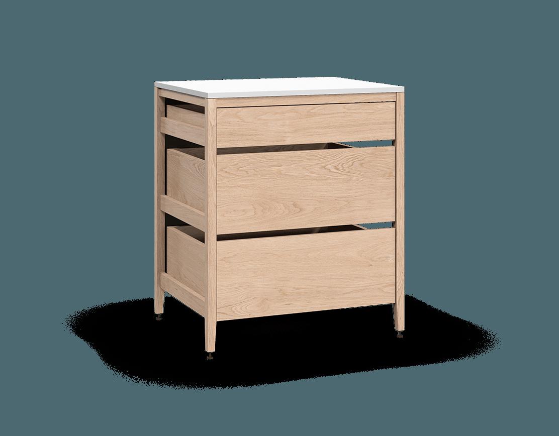 coquo radix white oak solid wood modular 3 drawers base kitchen cabinet 33 inch C1-C-33TB-3001-NA