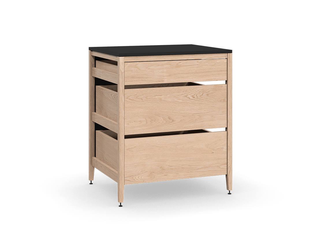 coquo radix white oak solid wood modular 3 drawers base kitchen cabinet 33 inch C1-C-33TB-3002-NA