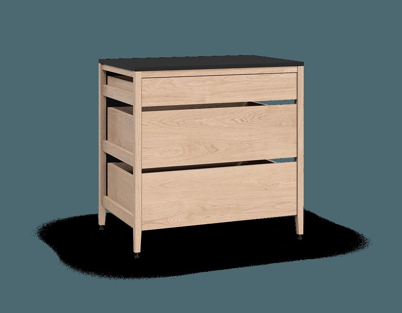 coquo radix white oak solid wood modular 3 drawers base kitchen cabinet 36 inch C1-C-36TB-3002-NA