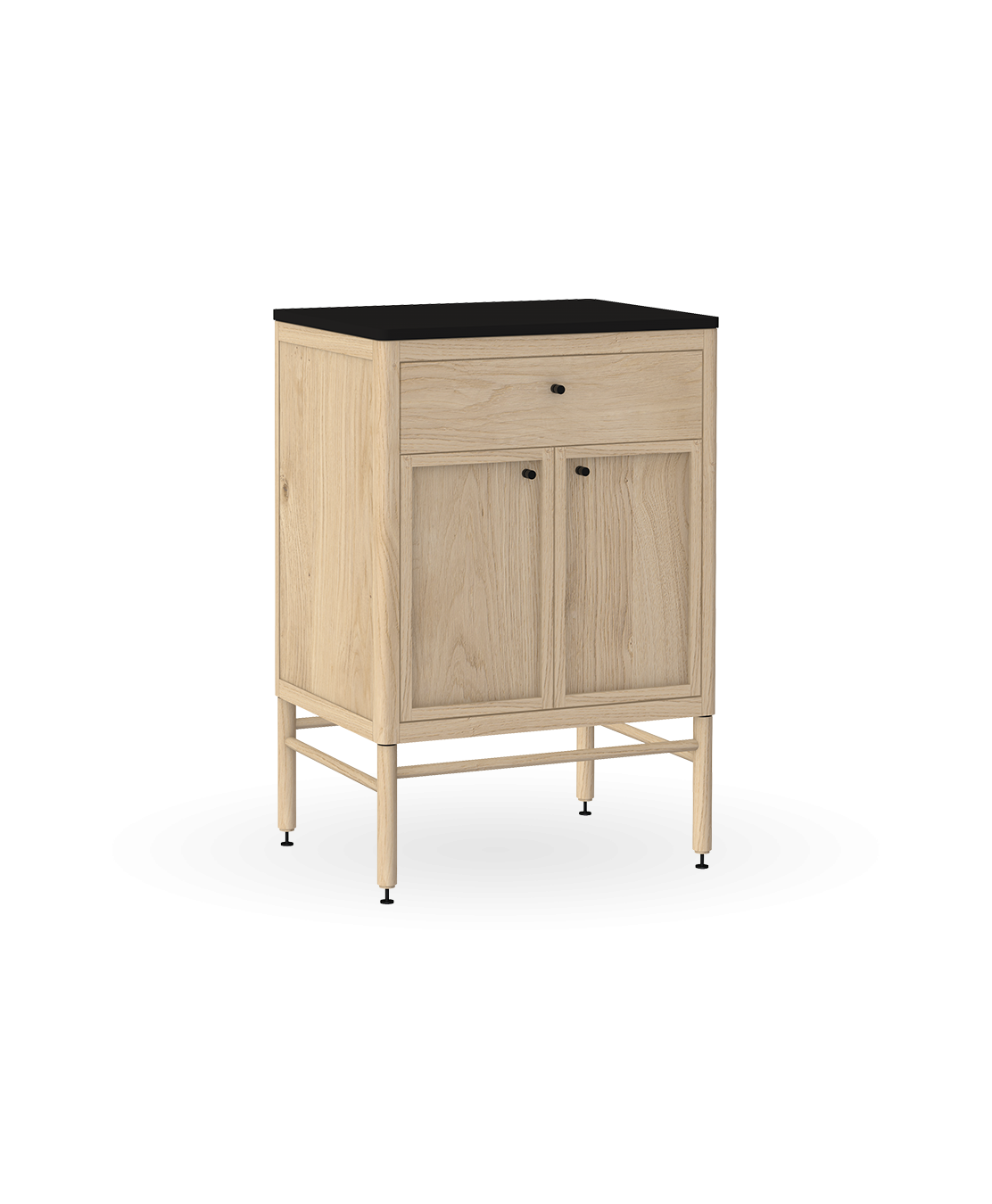 coquo statio white oak solid wood modular 1 drawer 2 doors storage base cabinet 24 inch C4-C-2418-1202-NA