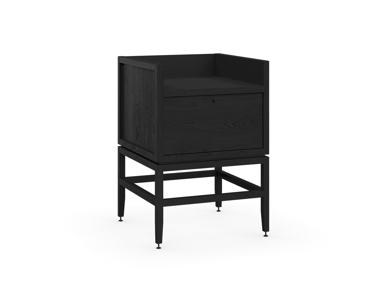 coquo volitare midnight black stained oak solid wood modular 1 bin 1 drawer storage coffee bar station cabinet 24 inch C2-C-2418-1012-BK