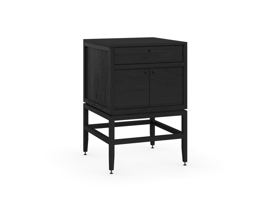 coquo volitare midnight black stained oak solid wood modular 1 drawer 2 doors storage base cabinet 24 inch C2-C-2424-1202-BK