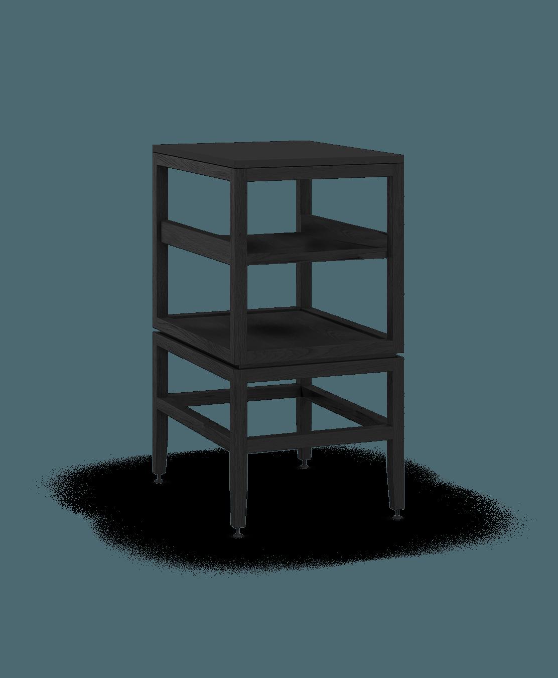 coquo volitare midnight black stained oak solid wood modular cube 1 shelf storage open cabinet 18 inch C2-N-1824-001W1-BK