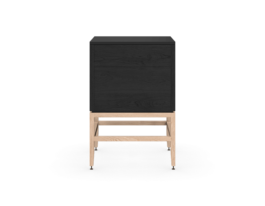 coquo volitare midnight black stained oak white oak solid wood modular 2 drawers storage base cabinet 24 inch C2-C-2424-2001-BK-NA