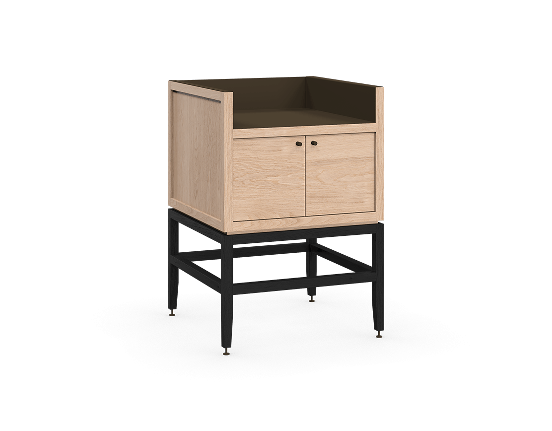 coquo volitare midnight black stained white oak solid wood modular 1 bin 2 doors storage coffee bar station cabinet 24 inch C2-C-2418-0211-NA-BK