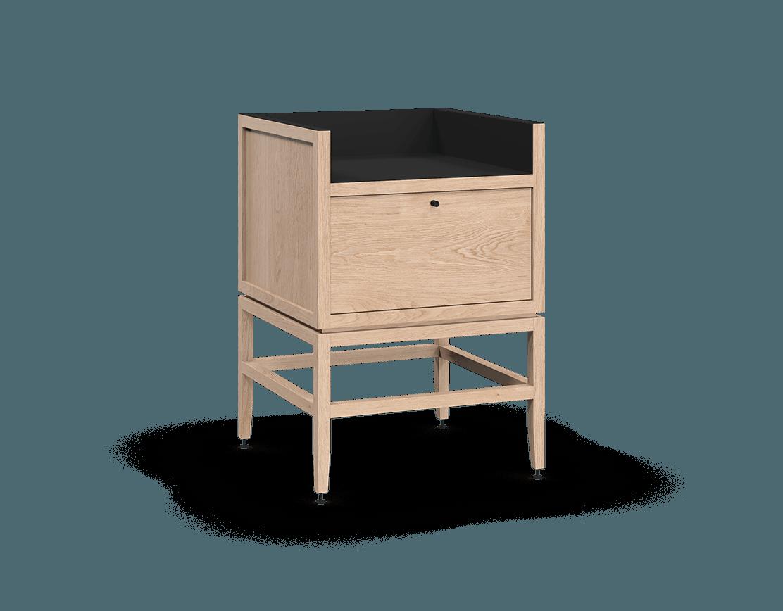 coquo volitare white oak solid wood modular 1 bin 1 drawer storage coffee bar station cabinet 24 inch C2-C-2418-1012-NA