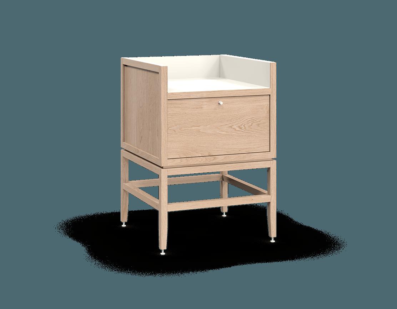 coquo volitare white oak solid wood modular 1 bin 1 drawer storage coffee bar station cabinet 24 inch C2-C-2418-1013-NA