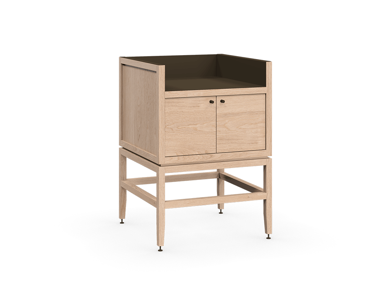 coquo volitare white oak solid wood modular 1 bin 2 doors storage coffee bar station cabinet 24 inch C2-C-2418-0211-NA