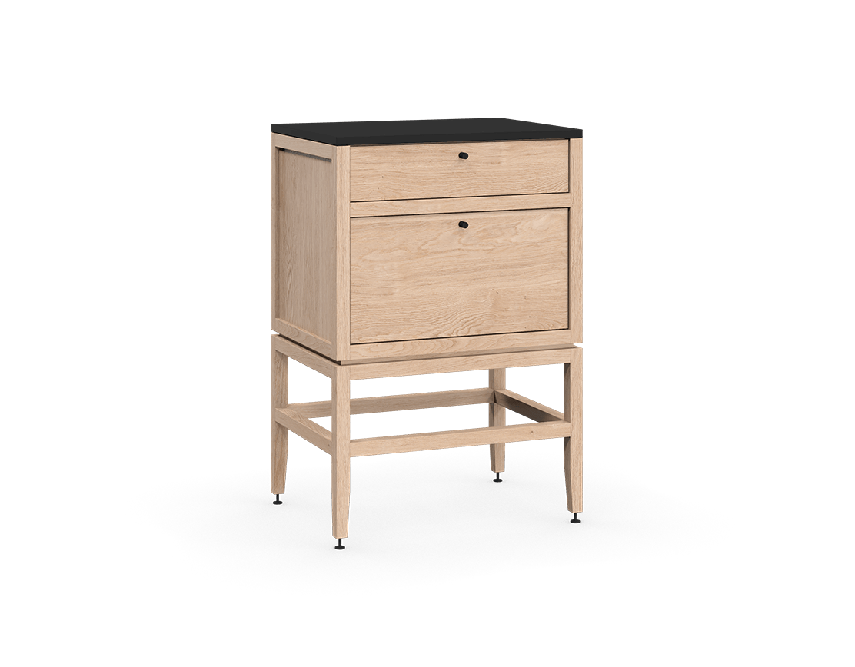 coquo volitare white oak solid wood modular 2 drawers storage base cabinet 24 inch C2-C-2418-2002-NA