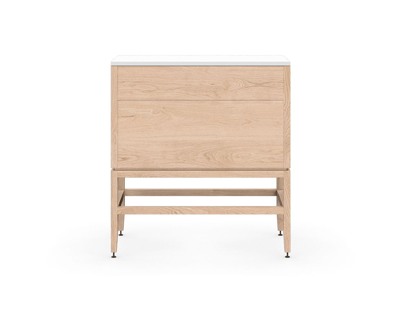 coquo volitare white oak solid wood modular 2 drawers storage base cabinet 33 inch C2-C-3318-2001-NA