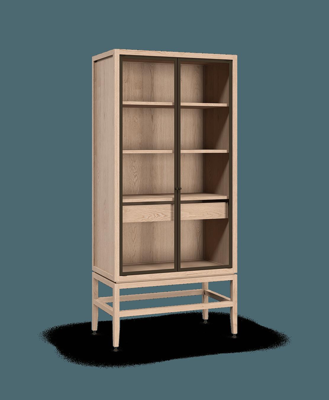 coquo volitare white oak solid wood modular 2 glass doors storage glass display hutch cabinet 33 inch C2-D-3318-1201-NA