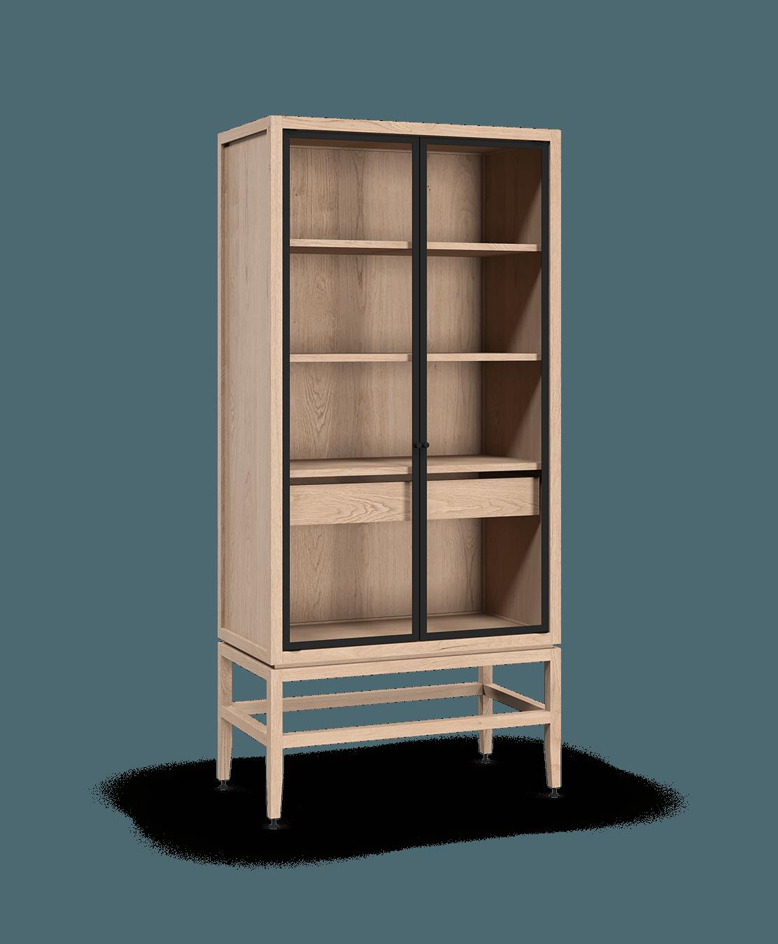 coquo volitare white oak solid wood modular 2 glass doors storage glass display hutch cabinet 33 inch C2-D-3318-1202-NA