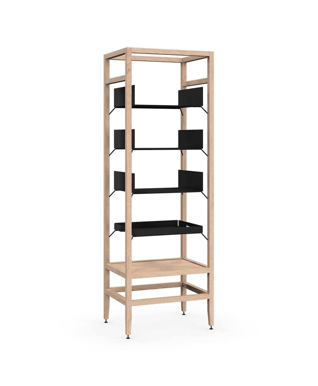 coquo volitare white oak solid wood modular 3 shelves 1 removable tray storage tall bookcase shelving unit 24 inch C2-S-2418-0002-NA