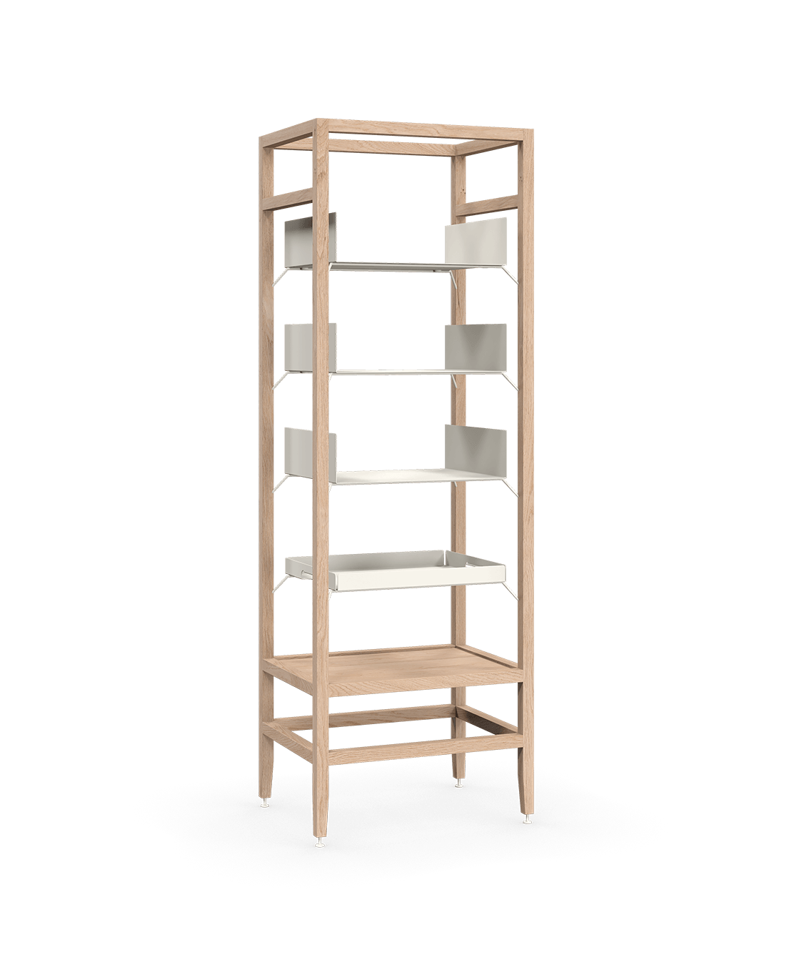 coquo volitare white oak solid wood modular 3 shelves 1 removable tray storage tall bookcase shelving unit 24 inch C2-S-2418-0003-NA
