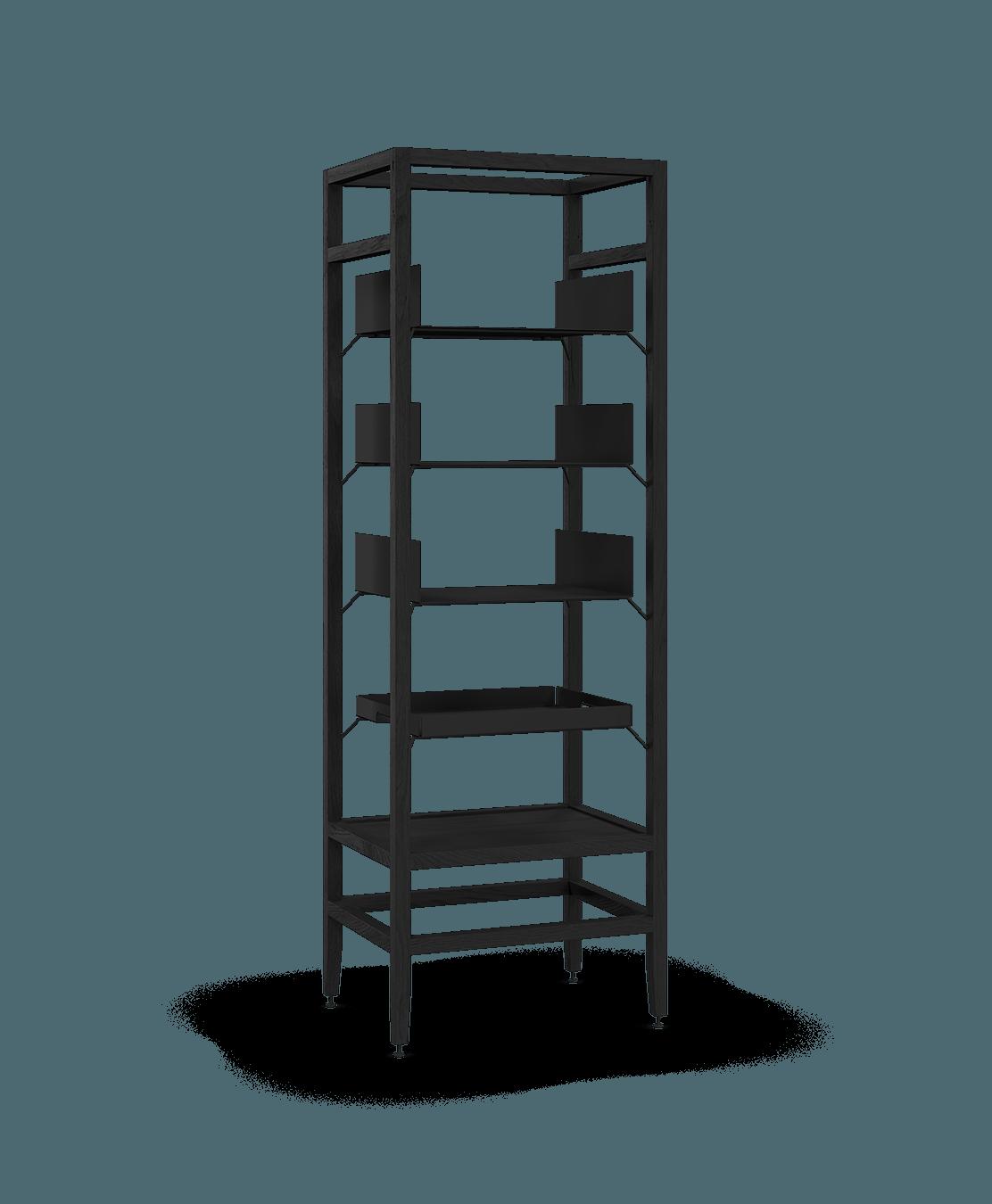 étagère bibliothèque haute modulaire de rangement en bois massif coquo volitare avec 3 tablettes 1 cabaret amovible chêne teint noir nuit profonde 24 pouces C2-S-2418-0002-BK