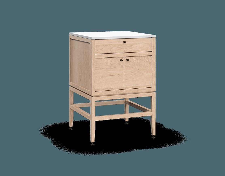 meuble lavabo vanité pour salle de bain modulaire de rangement en bois massif coquo volitare avec 2 portes chêne blanc 24 pouces C2-CSK-2424-0201-NA