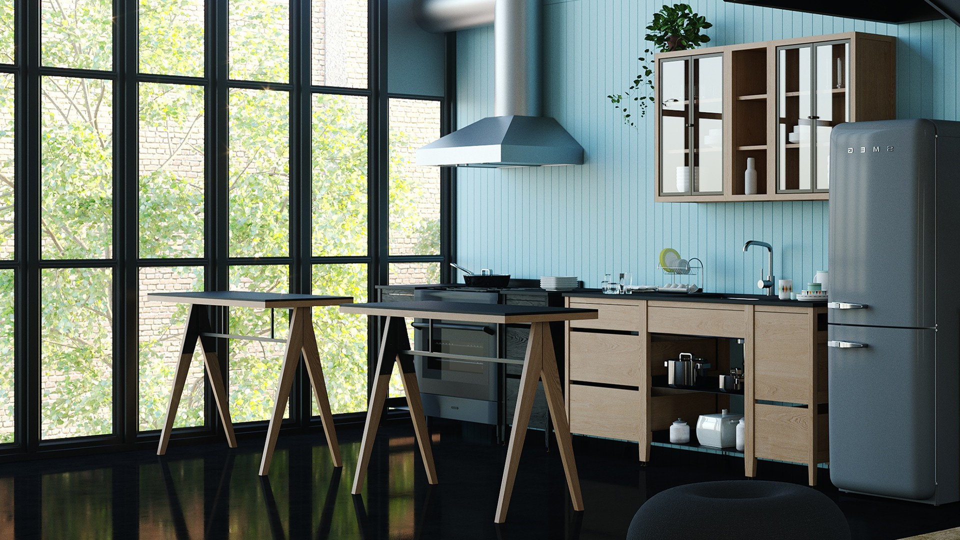 Kitchen Wall Cabinets, with Glass Doors or Open Shelving Units | coquo