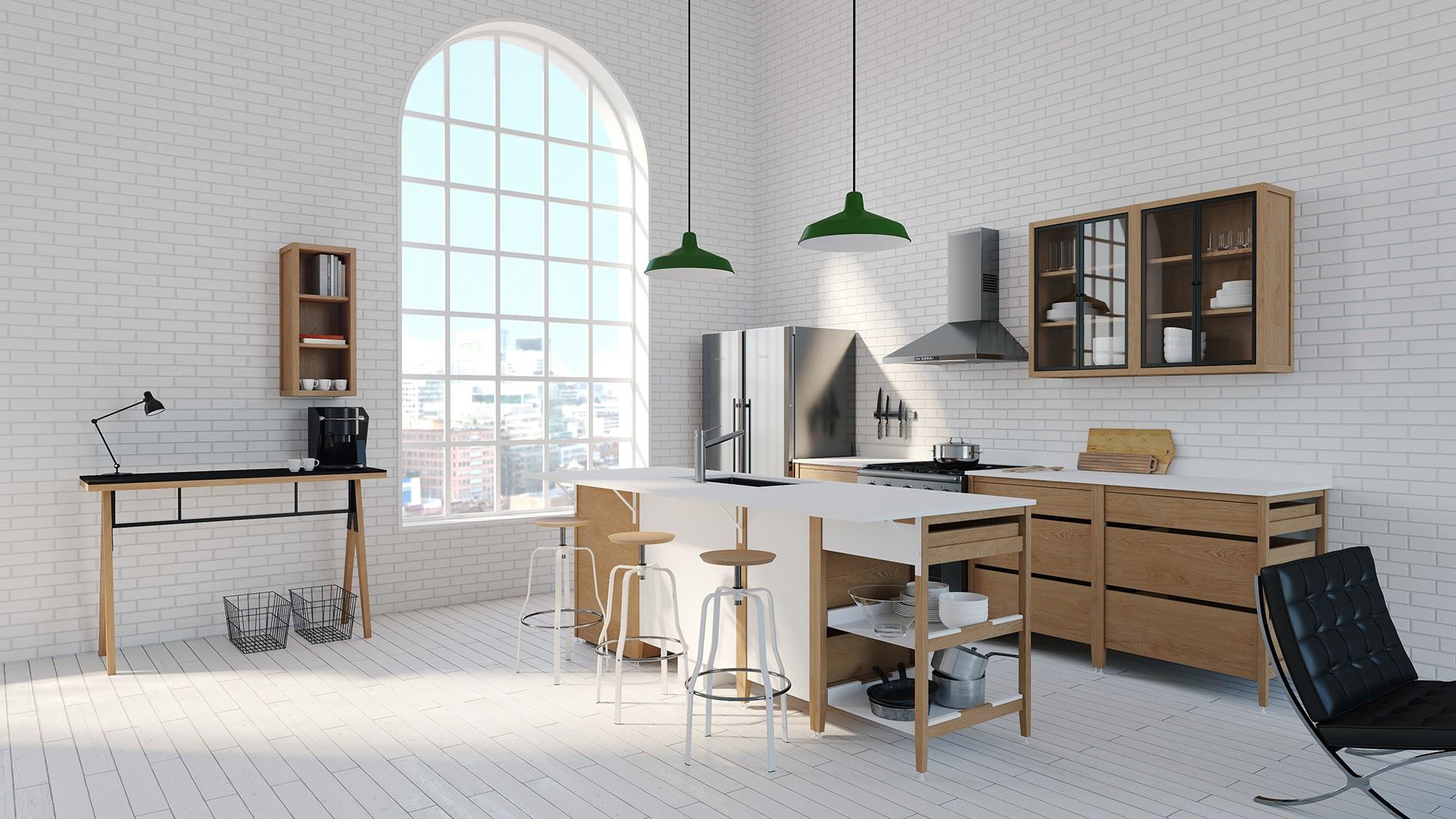 Radix Wall Upper Kitchen Cabinet Open 12 In White Oak | coquo