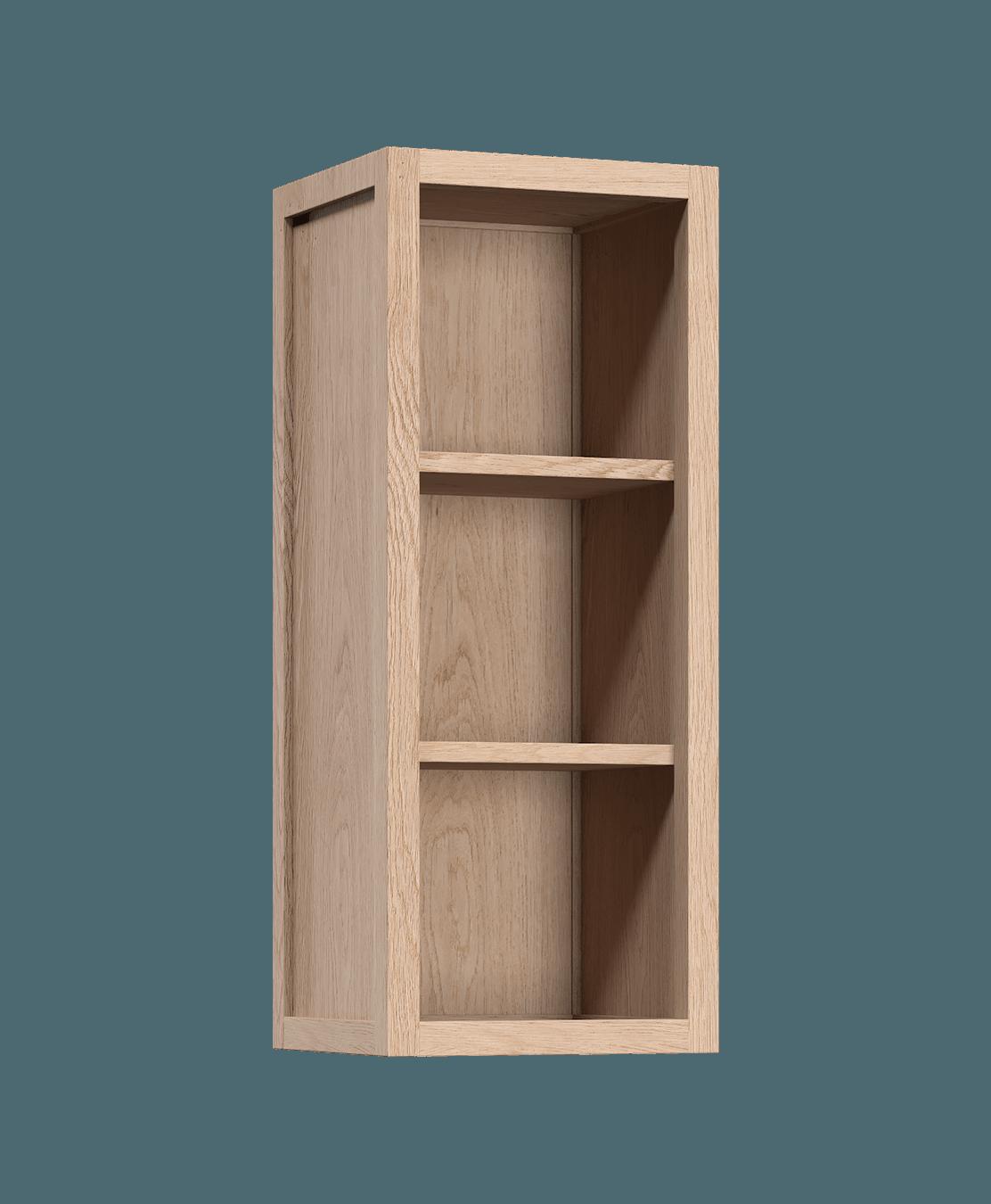 armoire de cuisine modulaire murale ouverte en bois massif coquo radix avec 2 portes en verre chêne blanc 12 pouces C1-W-1212-0000-NA