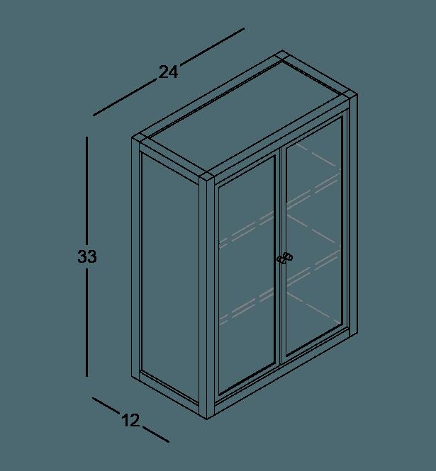 armoire de cuisine modulaire murale vitrée en bois massif coquo radix avec 2 portes en verre chêne blanc 12 pouces C1-W-2412-0201-NA